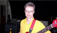 Garry on bass during rehearsal